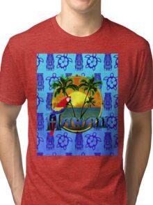 Hawaii Sunset Blue Tiki Tri-blend T-Shirt