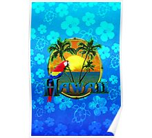 Hawaii Sunset Blue Honu Poster