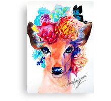 rain deer with flower crown forest animal Canvas Print
