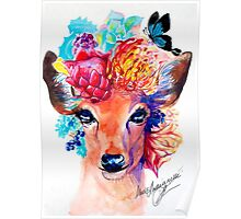 rain deer with flower crown forest animal Poster