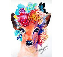 rain deer with flower crown forest animal Photographic Print