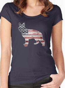 Patriotic German Shepherd, American Flag Women's Fitted Scoop T-Shirt