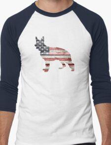 Patriotic German Shepherd, American Flag Men's Baseball ¾ T-Shirt