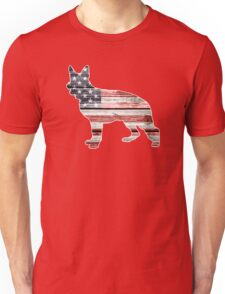 Patriotic German Shepherd, American Flag Unisex T-Shirt