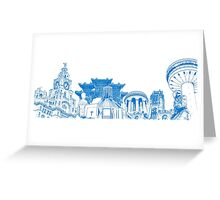 Liverpool Landmarks Montage Blue and White Greeting Card