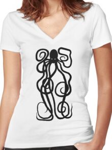 Kraken Black Women's Fitted V-Neck T-Shirt