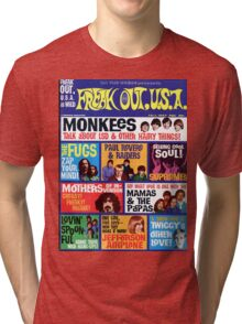 Freak Out USA magazine Cover Fall 1967, Monkeys, Supremes, Paul Revere, Mamas & The Papas... Tri-blend T-Shirt