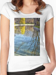 Natural scene. Trees reflected in the water. Photograph. Women's Fitted Scoop T-Shirt