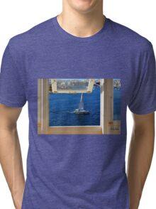 Nautical theme seen from a window frame. Malta. Tri-blend T-Shirt