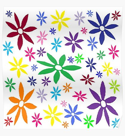 Colorful Retro Flowers Poster