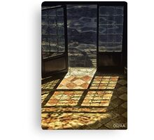 Strong contrast between light and shadow. Old classical entrance. Canvas Print
