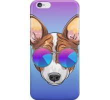 Hipster smiling dog Basenji  iPhone Case/Skin