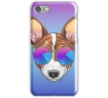 Hipster smiling dog Basenji  iPhone Case/Skin