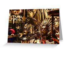 Impressions of Venice - Sun and Moon Venetian Carnival Masks  Greeting Card
