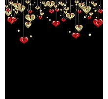 Black background yellow, black, graphic, yellow, colorful, black and yellow.red,gold, heart, hearts Photographic Print