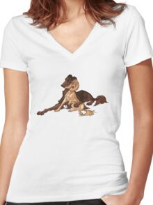 Ymir and Christa - Borzoi and Saluki Women's Fitted V-Neck T-Shirt