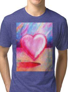 Retro Heart Pastel Tri-blend T-Shirt