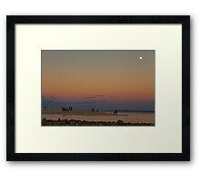 Full Moon Beach Watching At Sunset Framed Print