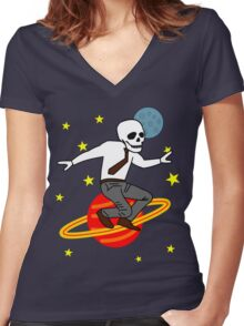 Space Office Skeleton Women's Fitted V-Neck T-Shirt