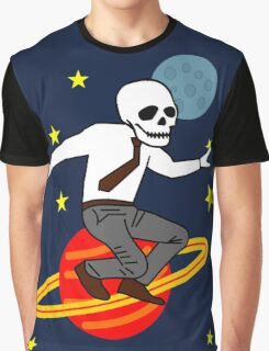 Space Office Skeleton Graphic T-Shirt