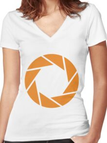 Aperture Science (Orange) Women's Fitted V-Neck T-Shirt
