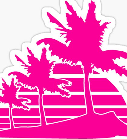 palm beach 3 allee row windy wind storm gusts air black fringe silhouette sun beach strip pink miami Sticker