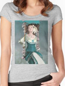 Beautiful vintage girl on a floral swing Women's Fitted Scoop T-Shirt