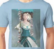 Beautiful vintage girl on a floral swing Unisex T-Shirt