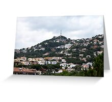 Small quiet town on the hillside Greeting Card