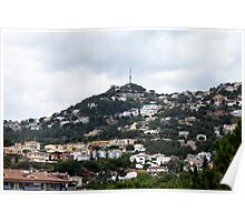 Small quiet town on the hillside Poster