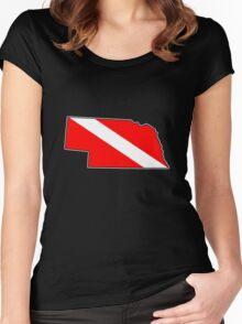 Dive flag Nebraska outline Women's Fitted Scoop T-Shirt