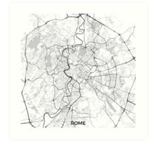 Rome City Map Gray Art Print