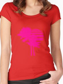 2 palm beach beautiful shape pattern design outlined umrandung sun sunset night evening sunrise morning silhouette pink miami Women's Fitted Scoop T-Shirt