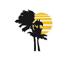2 palm beach beautiful shape pattern design outlined umrandung sun sunset night evening sunrise morning silhouette Photographic Print