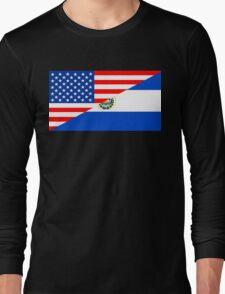 usa el salvador half flag Long Sleeve T-Shirt