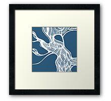 tree - blue/white Framed Print