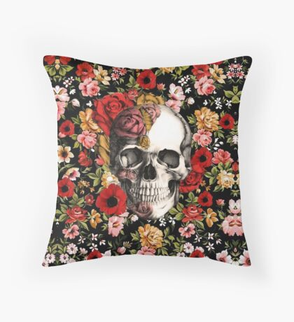 In bloom floral skull Throw Pillow