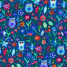 Little Owls and Flowers on deep teal blue by micklyn