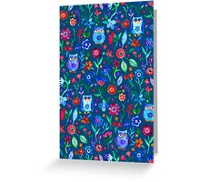 Little Owls and Flowers on deep teal blue Greeting Card