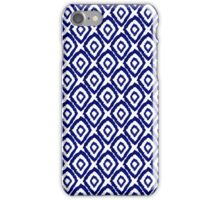 Ikat modern indigo blue abstract patiently brushstrokes painting pattern print iPhone Case/Skin