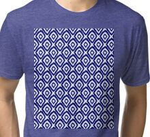Ikat modern indigo blue abstract patiently brushstrokes painting pattern print Tri-blend T-Shirt