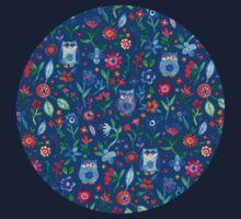 Little Owls and Flowers on deep teal blue Kids Tee