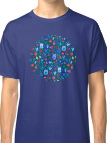 Little Owls and Flowers on deep teal blue Classic T-Shirt