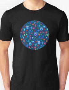 Little Owls and Flowers on deep teal blue Unisex T-Shirt