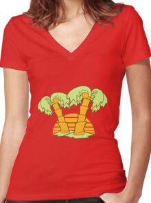 2 palm trees comic cartoon coconuts sun sunset sunrise stripes island lines Women's Fitted V-Neck T-Shirt
