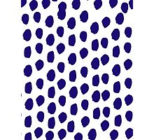 Indigo blue abstract brushstrokes modern minimal dots polka dot texture painterly Photographic Print
