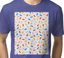 Sprinkles modern minimal abstract simple retro throwback 1980's style neon primary colors dots  Tri-blend T-Shirt