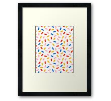 Sprinkles modern minimal abstract simple retro throwback 1980's style neon primary colors dots  Framed Print
