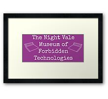 """Welcome To Night Vale """"The Night Vale Museum of Forbidden Technologies"""" - White Writing, Purple Background Framed Print"""