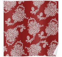 blossom pattern - red/white Poster